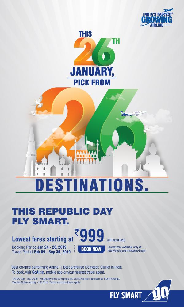 On this Republic Day Fly Smart with Go Air